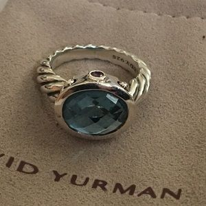 David Yurman Blue Topaz Oval Renaissance Ring